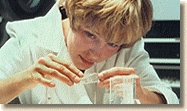 Swedish woman at work in pharmaceuticals laboratory